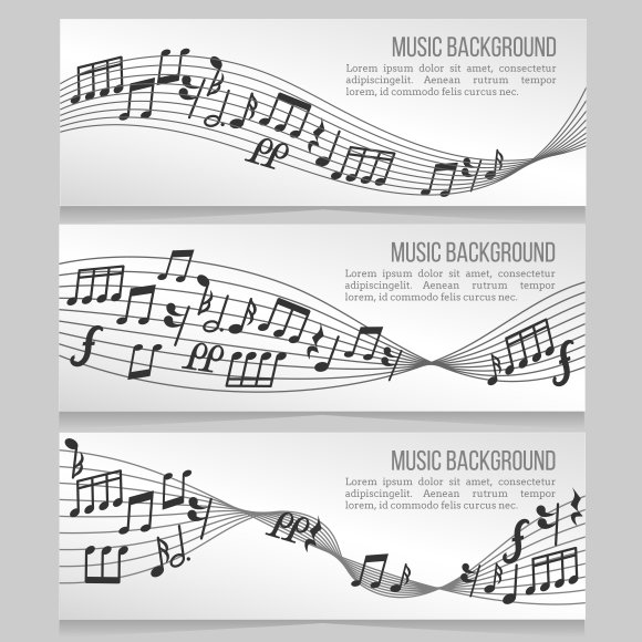 Music Banners Vector Set