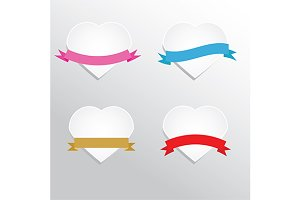 paper hearts and ribbons. eps