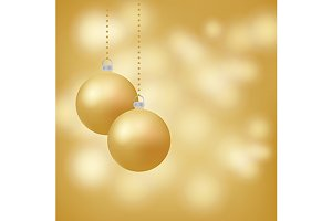 Glowing golden background, baubles