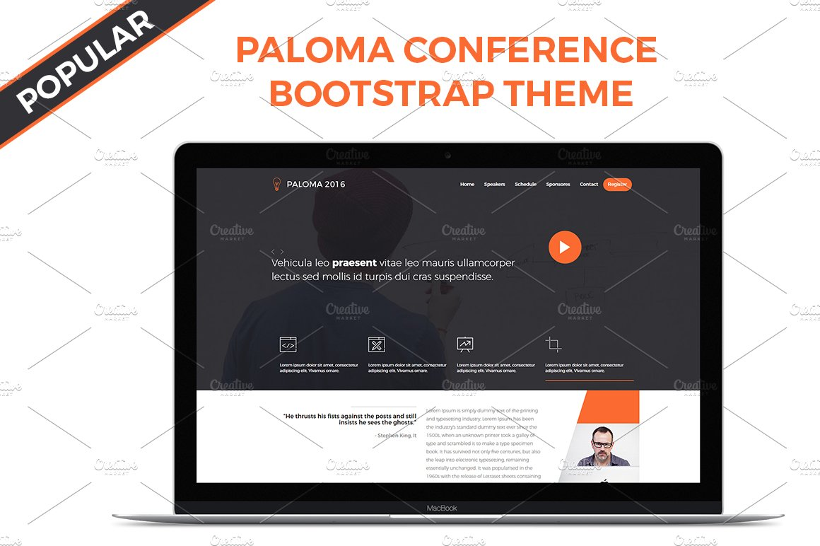 Paloma Conference Bootstrap Theme ~ Bootstrap Themes ~ Creative Market