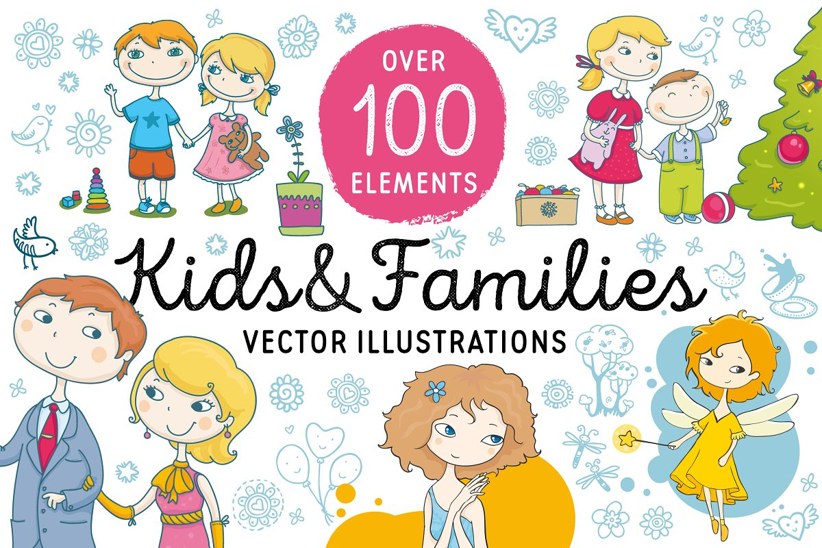 Kids and Families vector art in Illustrations - product preview 8