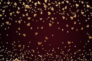 Gold Hearts Confetti Clipart