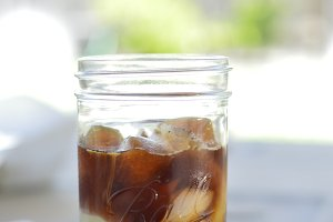Iced Coffee with mint in Mason Jar