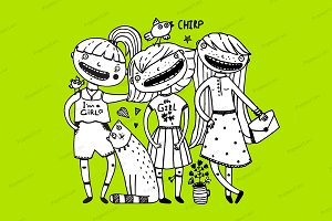 Girls friends and cat girlish style