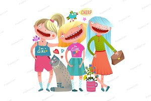Friends girls fashion stylish vector