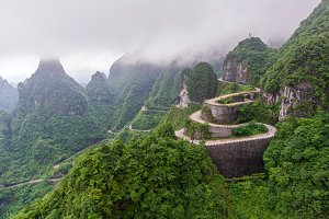winding and curves road in Tianmen