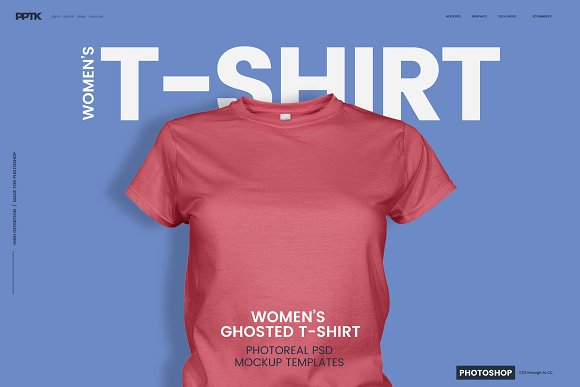 Download Women's Ghosted T-Shirt Mockup