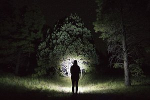 Photo of girl at night