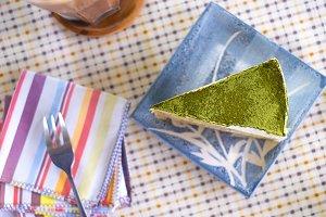Matcha green tea cake cheesecake