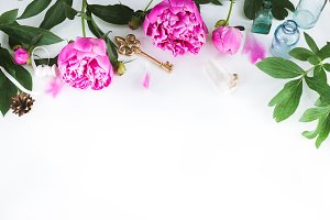 Cute and stylish branding mockup photo wit peonies.