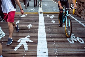 Pedestrian and bicycle riders