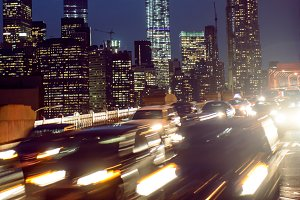 Night car traffic in New York