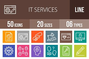 50 IT Services Line Multicolor Icons