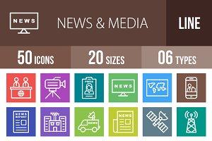 50 News&Media Line Multicolor Icons