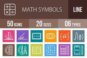 50 Math Symbol Line Multicolor Icons