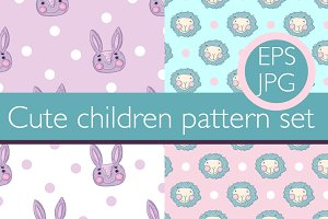 4 Cute Boy and Girl pattern set