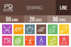 50 Sewing Line Multicolor Icons