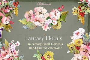 Fantasy Florals Design Elements
