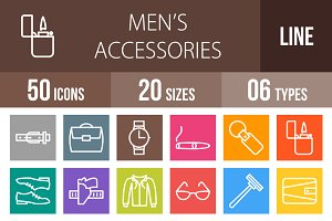 50 Men's Items Line Multicolor Icons