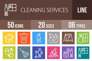 50 Cleaning Line Multicolor Icons