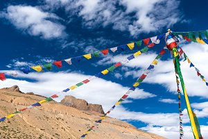 Buddhist prayer flags with blue sky