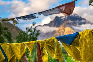 Prayer flags with himalaya mountain