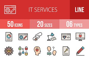 50 IT Services Filled Line Icons