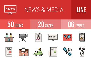 50 News & Media Filled Line Icons
