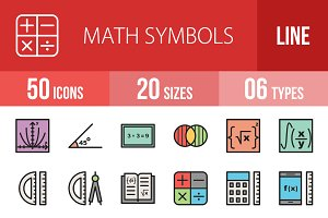 50 Math Symbols Filled Line Icons