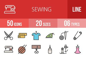 50 Sewing Filled Line Icons
