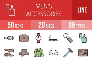 50 Men's Items Filled Line Icons