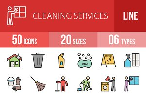 50 Cleaning Filled Line Icons