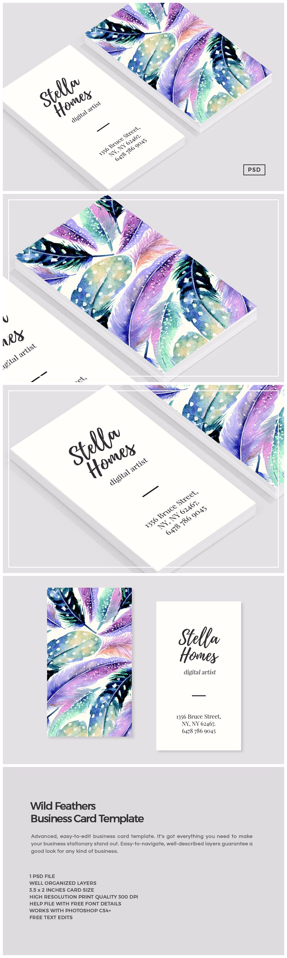Wild feathers business card template business card templates wild feathers business card template business card templates creative market wajeb