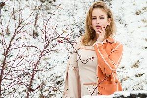 Winter portrait of the girl.