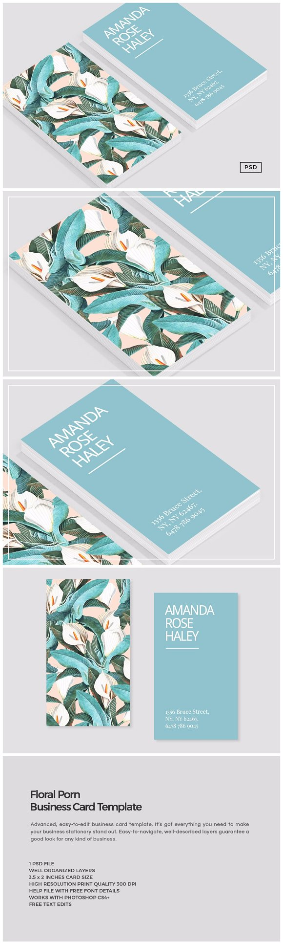 Floral porn business card template business card templates floral porn business card template business card templates creative market reheart Gallery