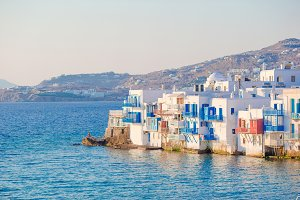 Beautiful famous landmark Little Venice in Mykonos Island on Greece, Cyclades