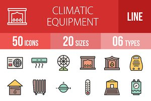 50 Climatic Filled Line Icons