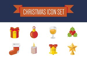Christmas Flat Color Icon Set