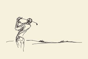 Sketch of a man hitting golf ball