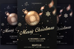 Black Merry Christmas Party Flyer