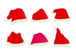 Set of nine hats of Santa Claus