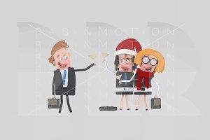 3d illustration. Teamwork toasting.