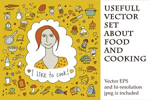Vector set about food and cooking