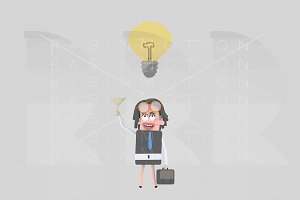 3d illustration. Businesswoman idea.