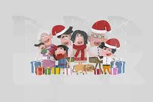 3d illustration. Christmas family.