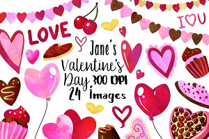 Watercolor Valentines Day Clipart