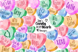 Watercolor Candy Hearts Clipart