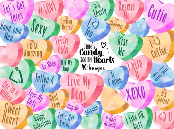 Watercolor Candy Hearts Clipart ~ Illustrations ~ Creative Market