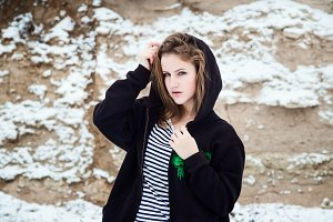 Winter portrait of the girl.
