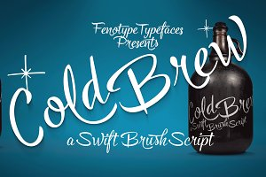Cold Brew font trio +extras -45% off